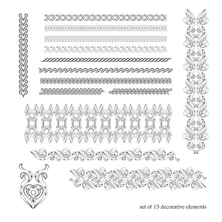 Calligraphic borders, patterns, and ornament corners. Vector pattern brushes set. 15 decorative elements for the design works. It can be used as separate elements or brushes