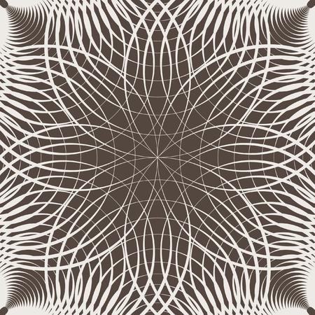 원형 요소의 원활한 리듬 기하학적 패턴입니다. 디자인을위한 그래픽 템플릿입니다. 흑백 이미지입니다. 장식 복고 장식입니다. 일러스트