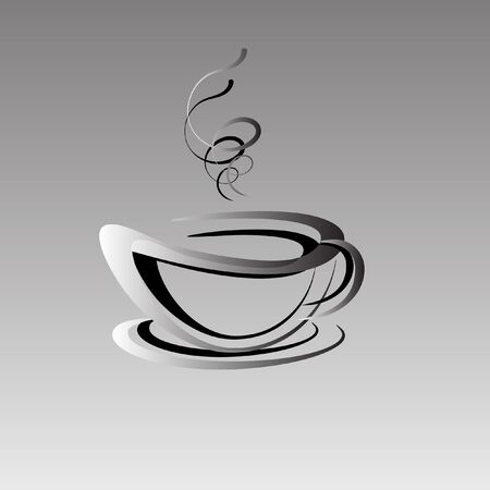 chinese food container: Abstract graphic image of a cup with hot tea or coffee. Light steam over a drink.