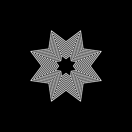 Circular decorative vector elements on a black background. Pattern of narrow lines.
