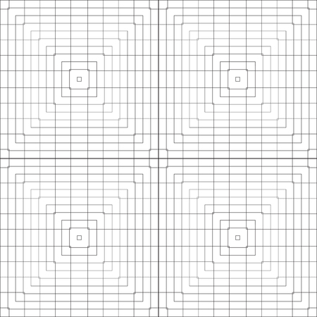 Vector pattern of intersecting and nested squares. A black and white grid layout.