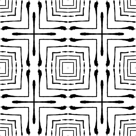 Squares of fine grunge lines are nested inside each other. Freehand texture. Can be used for graphic design, patterns, packaging, clothing, printing on surfaces. Light abstract linear pattern. Ilustração