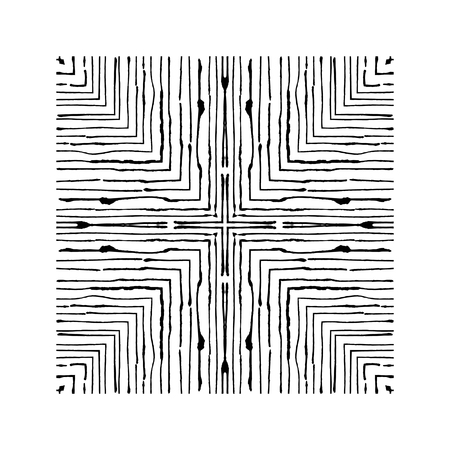 Squares of fine grunge lines are nested inside each other. Can be used for graphic design, patterns, packaging, clothing, printing on surfaces. Freehand texture. Ilustração