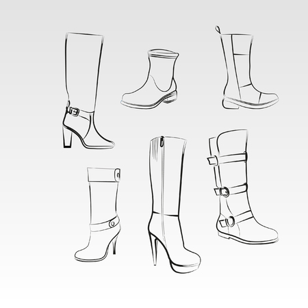 Womens boots set. Hand drawing high boots and boots on a white background. Illustration
