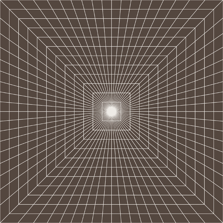 Graphic vector image. Converging at straight lines. Infinity. Looking in depth. 3D-tunnel. Geometric background