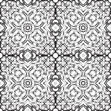 Abstract mosaic pattern. Regular ornament of geometric elements. Strict structure of squares. Seamless vector tile texture pattern in east, damascus, Islamic style.