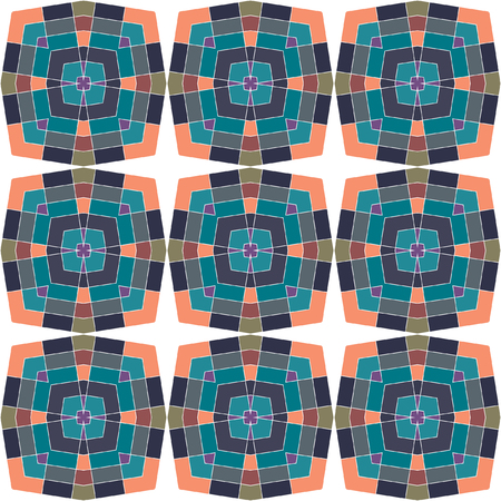 A colored pattern of square repeating elements. Seamless geometric pattern. Abstract colorful vector background for continuous replicate.