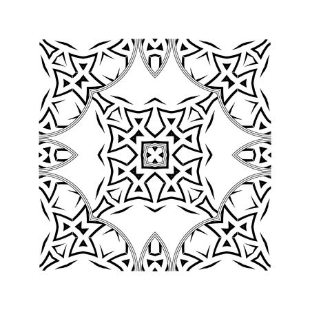 patchwork: Square graphic element for creating an abstract seamless pattern. A strict geometric ornament, black and white seamless pattern