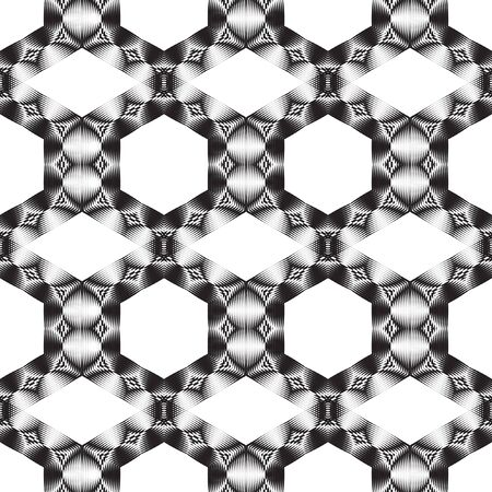 Seamless rhythmic geometric pattern of circular elements. Graphic template for your design. Monochrome image. Decorative retro ornament. Illustration
