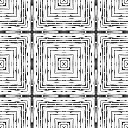Squares of fine grunge lines are nested inside each other. Abstract black ornament on white background, vector wallpaper. Freehand texture.