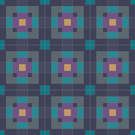 Seamless vector pattern of dark multicolored rectangles and squares Illustration