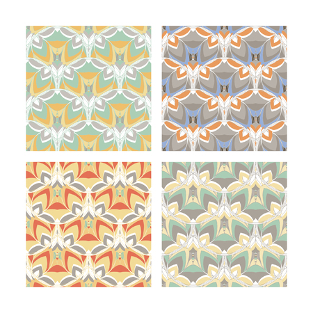 Set of 4 seamless patterns in soft faint colors Illustration