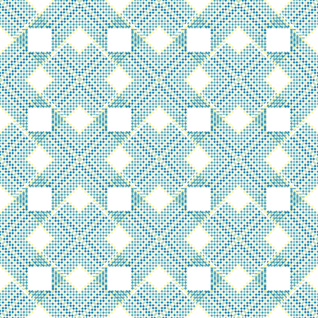 A rigorous geometric ornament is created from small squares in monochrome blue and white colors, seamless pattern
