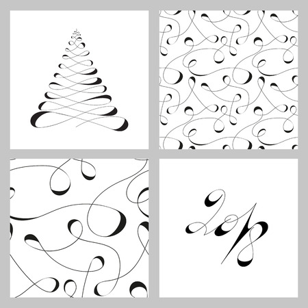 Black and white vector Christmas set of design elements in calligraphic lines for decorating New Years banners, backgrounds, invitations and congratulations Illustration