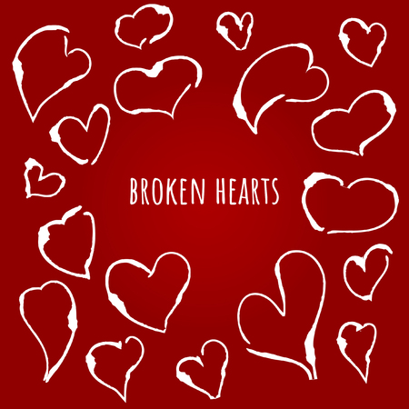Broken hearts, heartbreak Vector illustration