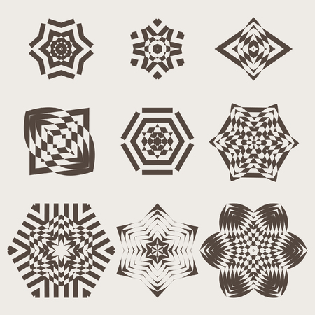 Decorative items to decorate your work. Vector graphic elements for design. Geometric fashion pattern. A set of nine circular patterns. Çizim