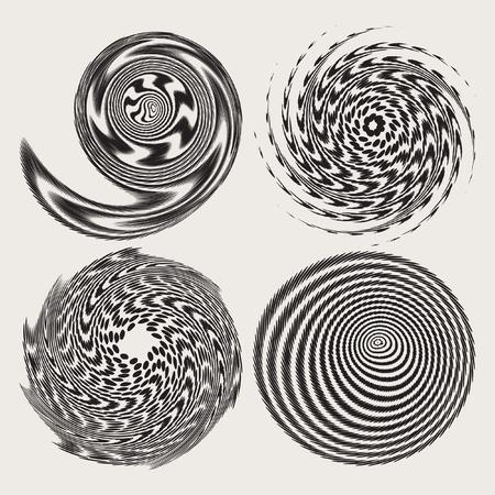 Decorative background with halftone, geometric element, spiral, stream, swirl. Vector design element. Geometric fashion pattern. Vector star, snowflake, round pattern.