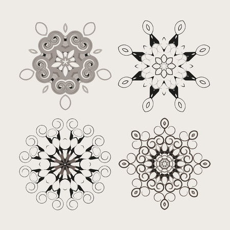Mandala - circular pattern from monochrome spirals for your designs. Vector pattern set.