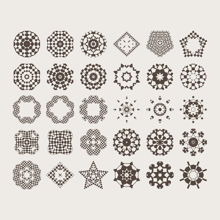 Mandala - circular pattern from monochrome spirals for your designs. Vector pattern set of 30 elements