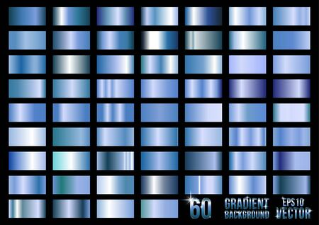 Set of 60 blue metal gradients, swatches collection.