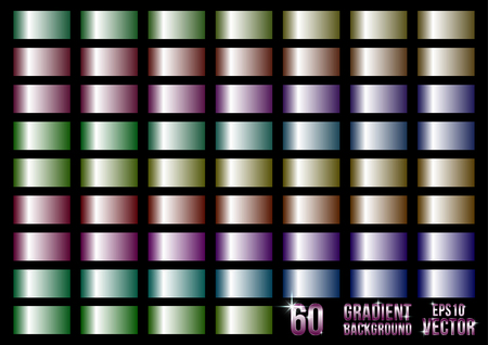 Set of 60 colored metal gradients, swatches collection.