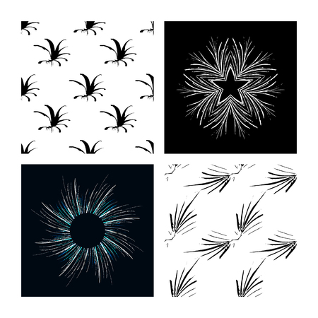 A set of grunge drawings. Destroyed design elements. Vector circular pattern, black and white graphics. Ethnic style, Hipsters, Boho, rustic rug