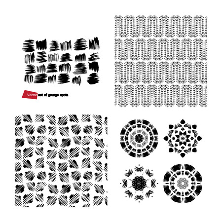 A set of grunge drawings. Destroyed design elements. Vector circular pattern, black and white graphics. Indian knitted pattern. Hipsters, boho, rustic mat