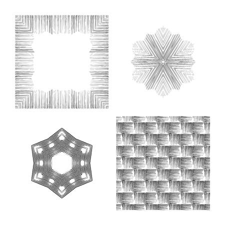 Vector set in grunge style. Indian knitted pattern. Hipsters, boho, rustic rug. Frames, round patterns, seamless background Ilustração