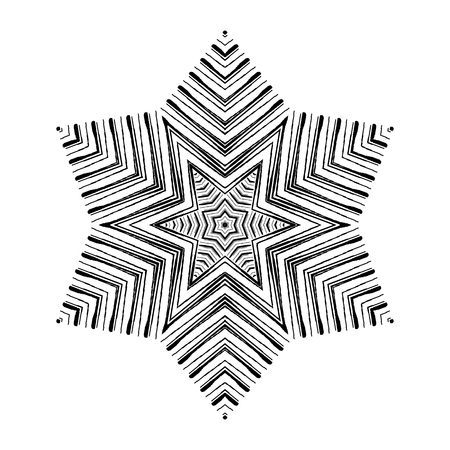 Black and white circular pattern, abstract vector illustration, grunge style. Graphical element for design work. Ilustração