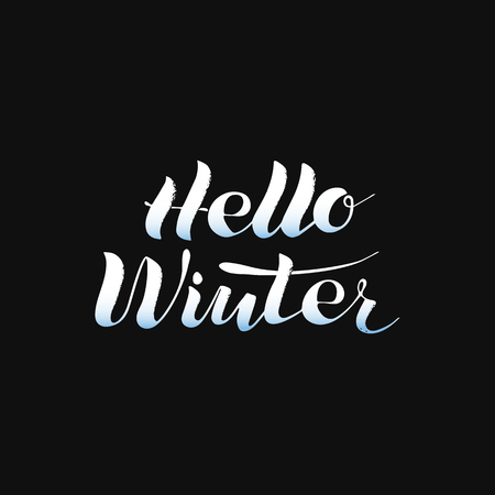 Hello winter, phrase, lettering, white on black. Winter icon and emblems for invitations, greeting cards, print. Vector illustration