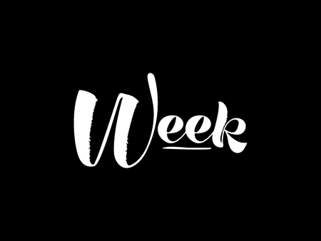 Week. Hand draw lettering. Vector illustration white on a black background