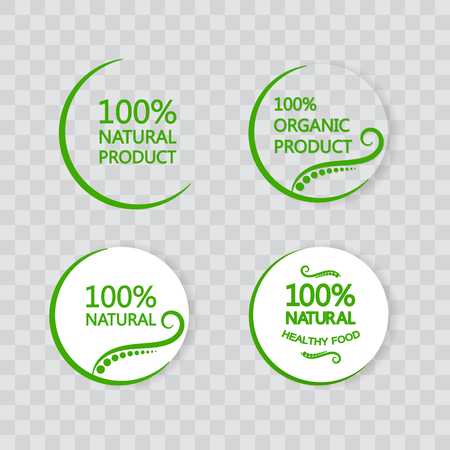 The organic product set. Natural products. Without chemical additives. The emblem on a transparent background.
