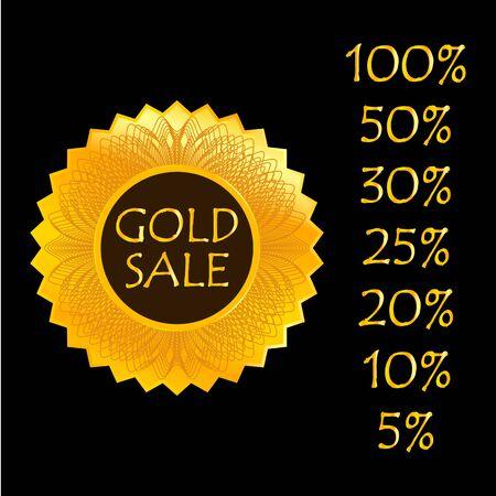 Gold sale. Label, sign icon. Vector illustration Ilustração