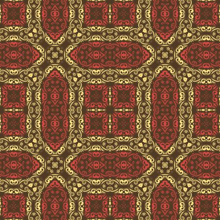Seamless vector pattern. Colorful ornament of carpet, floor, mosaic