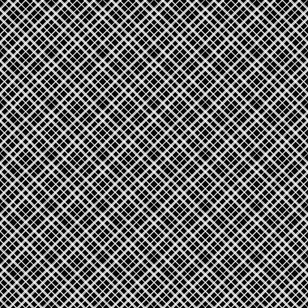 Diagonal checkered pattern of fine lines. Black and White vector illustration. Abstract geometric monochrome texture with thin diagonal transverse lines, rhombuses, a grid, a lattice. Simple thin checkered background. Modern design of repetition