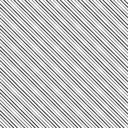 Simple geometric texture with grid of straight diagonal parallel stripes. Slanting lines. White pattern with black stripes, seamless vector background. Ilustração