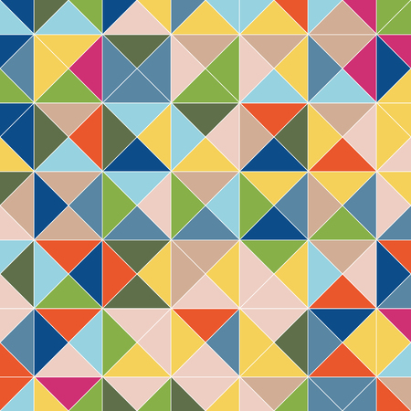 Ornamented pattern of colored triangles, abstract vector background with square pyramids Ilustração