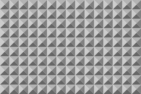 Ornamented pattern of monochrome triangles, seamless white and gray abstract vector background with square pyramids Ilustração