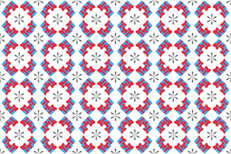 Seamless pattern for festive New Years packaging paper. Gifts and snowflakes Ilustração