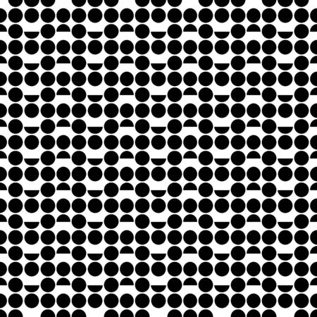 Black and white abstract vector abstract pattern from circles and semicircles. Seamless background. Ilustração