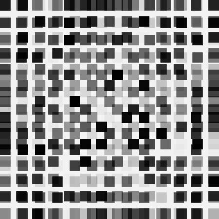 Abstract monochrome background of black squares of different transparency on white. Geometric backdrop, vector illustration.
