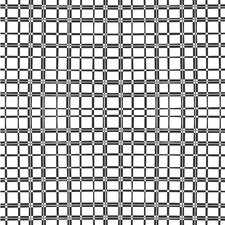 Vertical and horizontal thin brush bands, black and white squares. Fashionable monochrome geometric seamless plaid pattern. Horizontal and vertical black intersection bars. Dark pattern on a white background.