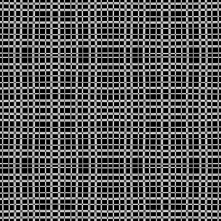 Vertical and horizontal thin bands. Fashionable monochrome geometric seamless plaid pattern. Horizontal and vertical intersection bars. White pattern on a black background.