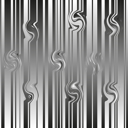 Black and white pattern from gradient lines. Abstract dark texture from strips. Glitch abstract background with distortion effect. Vector illustration. Ilustração