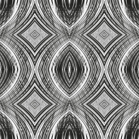 Black and white seamless pattern from gradient lines. Abstract dark texture from strips. Vector illustration. Ilustração