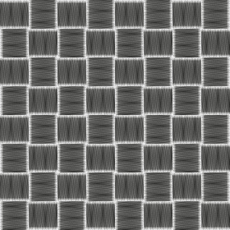 Seamless checkered pattern with grunge striped intersecting square elements. Modern stylish texture. Monochrome geometrical vector pattern. Optical illusion effect. Ilustração