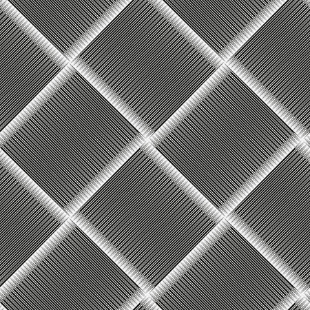 Seamless checkered diagonal pattern with grunge striped intersecting square elements. Monochrome geometric vectorial pattern. The effect of optical illusion. Illustration