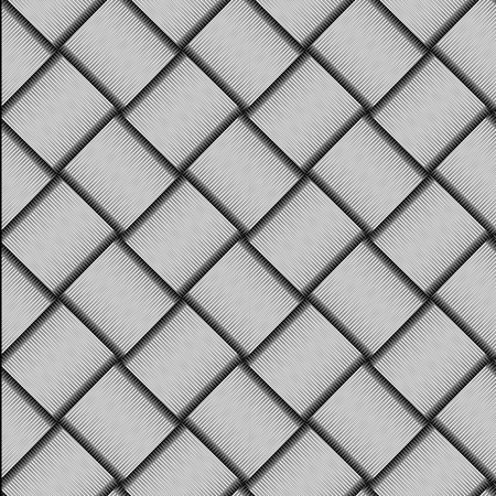 Seamless checkered diagonal pattern with grunge striped intersecting square elements. Monochrome geometric vectorial pattern. The effect of optical illusion. Ilustração