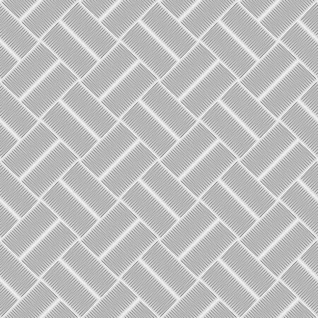 Checkered diagonal seamless pattern with grunge striped intersecting square elements. Geometric vectorial pattern. The effect of optical illusion. Illustration
