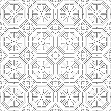 Thin lines. Black and white seamless patterned background. Vector illustration. Repeating abstract background with stylized flowers. Modern stylish texture.